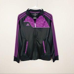 Adidas Black Purple Striped Zip Up Jacket